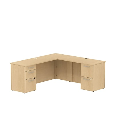 Bush 300 Series; 72W x 22D Single Pedestal L-Config Desk, Natural Maple