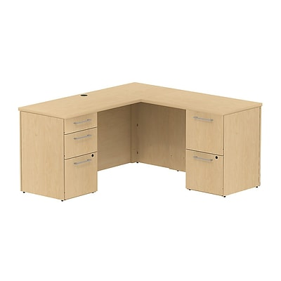 Bush 300 Series 60Wx22D Single Pedestal Desk L-Config w/ 3 Dwr Pedestal, Natural Maple, Installed