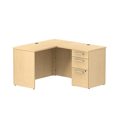 Bush Business 300 Series 48W x 22D Shell Desk L-Config w/ 3 Dwr Pedestal, Natural Maple, Installed