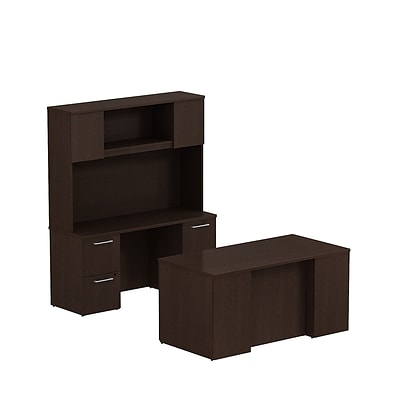 Bush Business 300 Series 60W x 30D Double Pedestal Desk with 60W Credenza and Hutch, Mocha Cherry