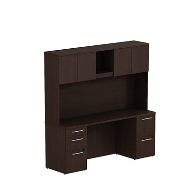 Bush Business 300 Series 72W x 22D Double Pedestal Desk with 72W Hutch, Mocha Cherry, Installed