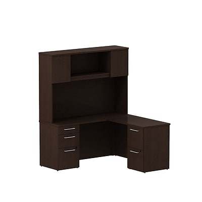 Bush Business 300 Series 60W x 22D Single Pedestal Desk L-Config w/ Pedestal & Hutch, Mocha Cherry