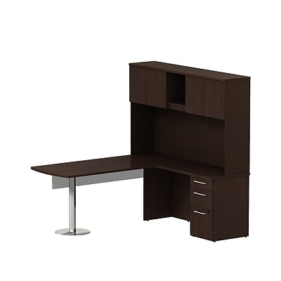 Bush 300 Series 72Wx30D Peninsula L-Desk w/Modesty Panel, Pedestal & Hutch, Mocha Chry, Installed