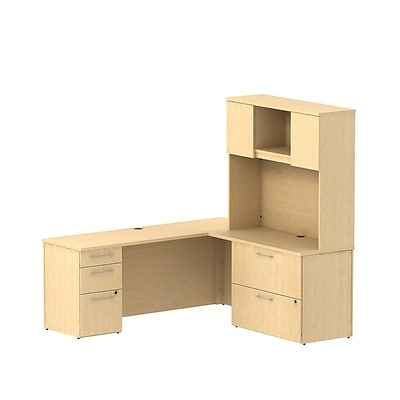 Bush 300 Series 72Wx22D Desk L-Config w/ Pedestal, Lateral File & Hutch, Natural Maple, Installed