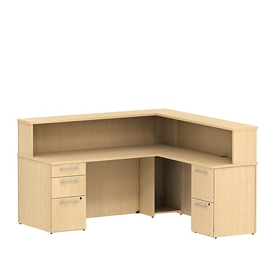 Bush Business 300 Series 72W x 72D Reception L-Desk with 2 and 3 Drawer Pedestals, Natural Maple