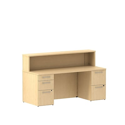 Bush Business 300 Series 72W x 30D Reception Double Pedestal Desk, Natural Maple, Installed