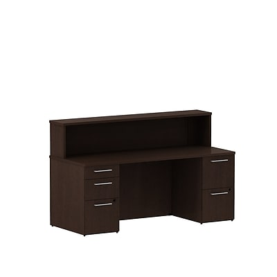 Bush Business 300 Series 72W x 30D Reception Double Pedestal Desk, Mocha Cherry