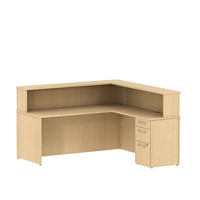Bush Business 300 Series 72W x 72D Reception L-Desk with 3 Drawer Pedestal, Natural Maple, Installed