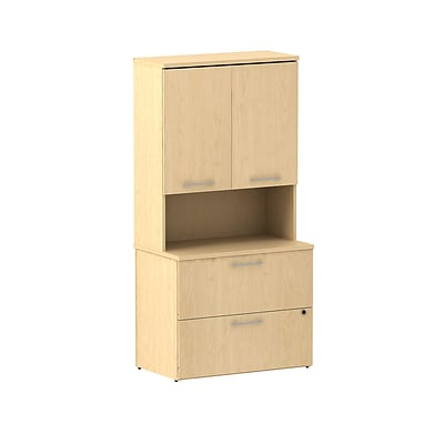 Bush Business 300 Series 36W 2 Drawer Lateral File with 36W Hutch Storage with Doors, Natural Maple