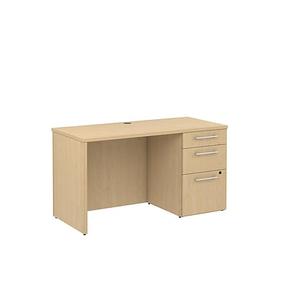 Bush Business 300 Series 48W X 22D Single Ped Desk, Natural Maple, Installed