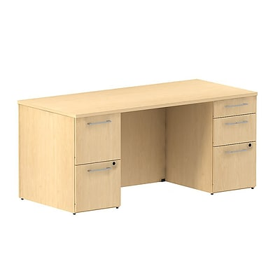 Bush Business 300 Series 66W Double Pedestal Desk, Natural Maple, Installed
