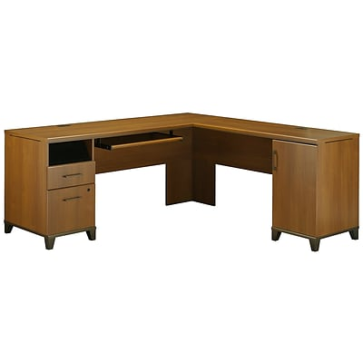 Bush Furniture Achieve L Desk, Warm Oak