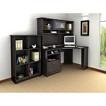 Bush Furniture Cabot Corner Desk with Hutch and 6 Cube Bookcase, Espresso Oak
