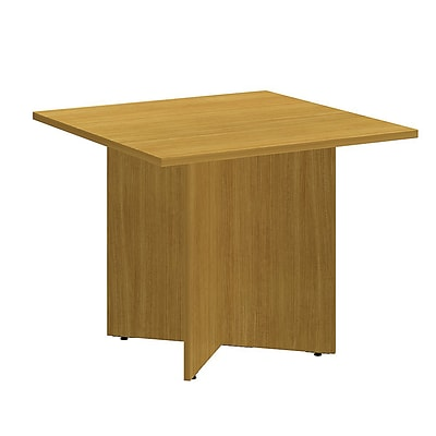 Bush Business 36W Square Conference Table with Wood Base, Modern Cherry, Installed
