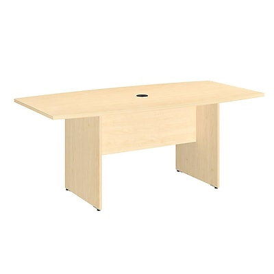 Bush Business 72L x 36W Boat Top Conference Table with Wood Base, Natural Maple, Installed