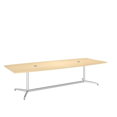 Bush Business 120L x 48W Boat Top Conference Table with Metal Base, Natural Maple