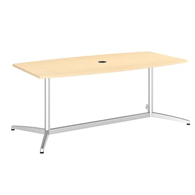Bush Business 72L x 36W Boat Top Conference Table with Metal Base, Natural Maple, Installed