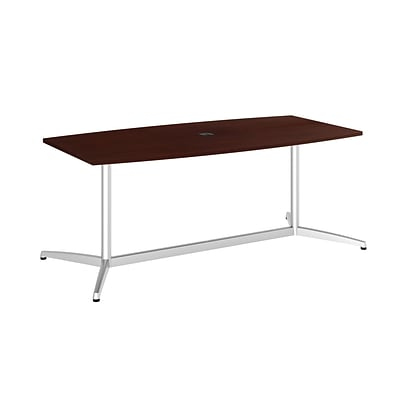 Bush Business 72L x 36W Boat Top Conference Table with Metal Base, Harvest Cherry, Installed
