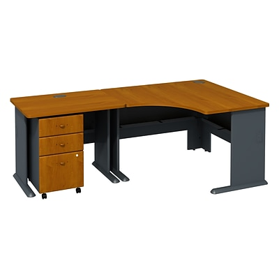 Bush Business Furniture Cubix 36W Desk with 48W Corner Desk & Mobile Pedestal, Natural Cherry/Slate, Installed (SRA005NCSUFA)