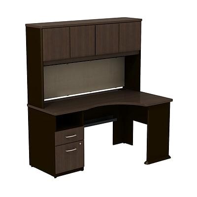 Bush 174 Cubix Sienna Walnut Expandable Desk W Hutch Rta