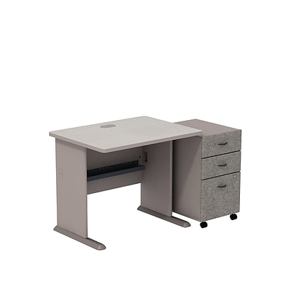 Bush Business Cubix 36W Desk with 3-Drawer Mobile Pedestal, Pewter/White Spectrum