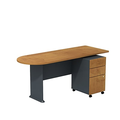 Bush Business Cubix 72W Peninsula Desk with 3-Drawer Mobile Pedestal, Natural Cherry/Slate