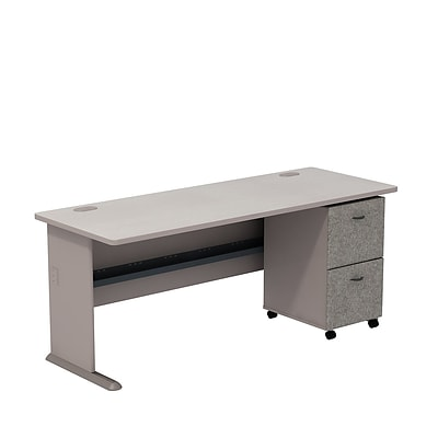 Bush Business Cubix 72W Desk with 2-Drawer Mobile Pedestal, Pewter/White Spectrum