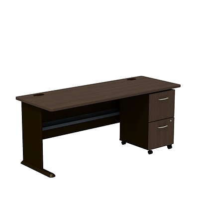 Bush Business Cubix 72W Desk with 2-Drawer Mobile Pedestal, Cappuccino Cherry/Hazelnut Brown