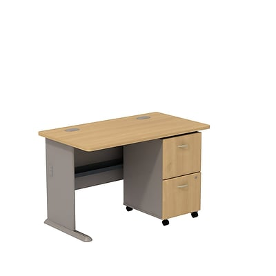 Bush Business Cubix 48W Desk with 2-Drawer Mobile Pedestal, Danish Oak/Sage