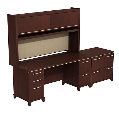 Bush Business Enterprise 72W Double Pedestal Desk w/ Hutch and 2 Drawer Lateral File, Harvest Cherry