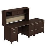 Bush Business Enterprise 60W Double Pedestal Desk with Hutch and Lateral File, Mocha Cherry