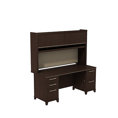 Bush Business Enterprise 72W x 30D Double Pedestal Desk with Hutch, Mocha Cherry