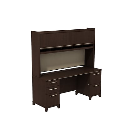 Bush Business Enterprise 72W x 24D Double Pedestal Credenza/Desk with Hutch, Mocha Cherry