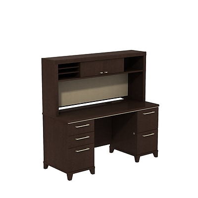 Bush Business Enterprise 60W x 24D Double Pedestal Credenza/Desk with Hutch, Mocha Cherry