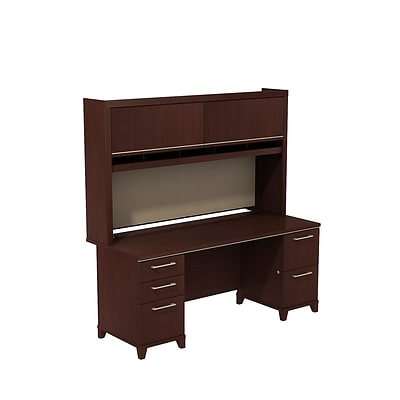 Bush Business Enterprise 72W Dbl Pedestal Desk w/ 72W Dbl Pedestal Desk & Hutch, Harvest Cherry