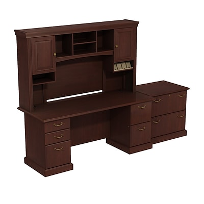 Bush Business Syndicate 72W x 22D Double Pedestal Desk with Hutch and Lateral File, Harvest Cherry