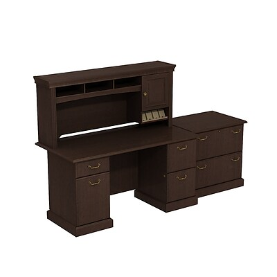 Bush Business Syndicate 60W x 30D Double Pedestal Desk with Hutch and Lateral File, Mocha Cherry