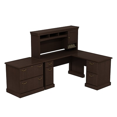 Bush Business Syndicate 60W x 60D L-Desk with Hutch and Lateral File, Mocha Cherry