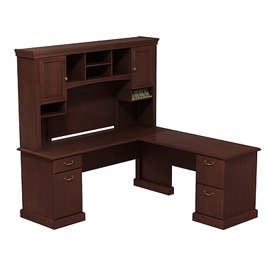 Bush Business Syndicate 72W x 72D L-Desk with Hutch, Harvest Cherry