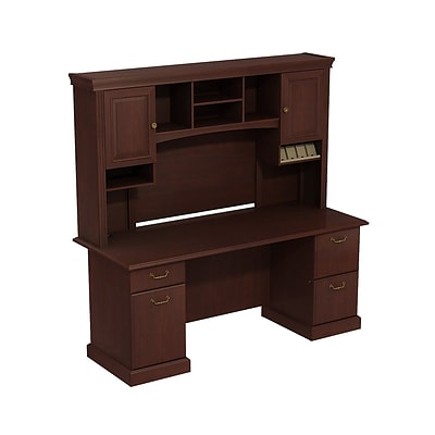 Bush Business Syndicate 72W x 22D Double Pedestal Desk with Hutch, Harvest Cherry