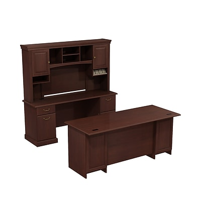 Bush Business Syndicate 72W x 22D Double Pedestal Desk with 72 Credenza and Hutch, Harvest Cherry