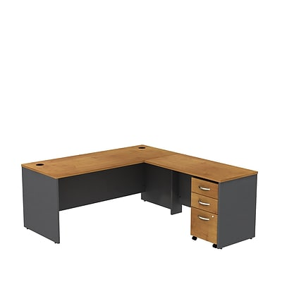 Bush Business Westfield 72W L- Desk with 3-Drawer Mobile Pedestal, Natural Cherry/Graphite Gray