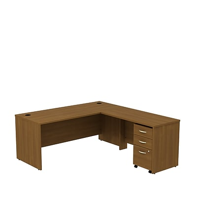 Bush Business Westfield 72W L- Desk with 3-Drawer Mobile Pedestal, Cafe Oak