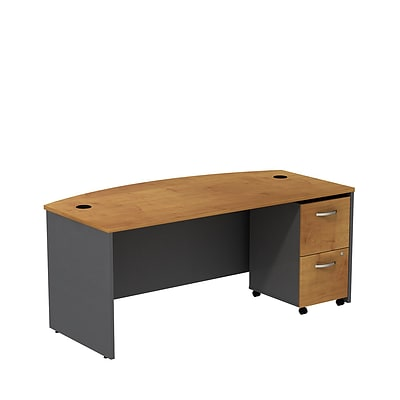 Bush Business Westfield 72W Bowfront Desk w/ 2-Drawer Mobile Pedestal, Natural Cherry/Graphite Gray