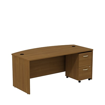 Bush Business Westfield 72W Bowfront Desk with 2-Drawer Mobile Pedestal, Cafe Oak