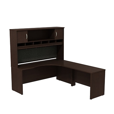 Bush Westfield Bundle 72 RH Corner Module w/ 48 Return & Hutch, Mocha Cherry, 71.09 W x 71.09 D x 72.77 H