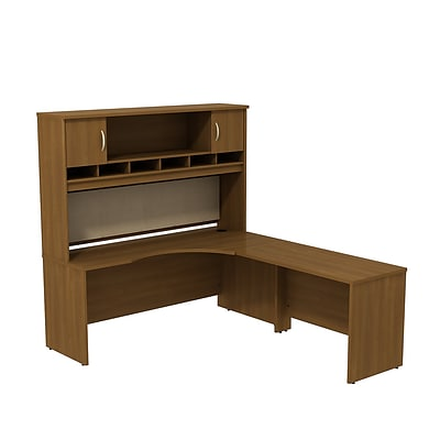 Bush Business Westfield 72W RH Corner L-Desk with 72W 2-Door Hutch, Cafe Oak
