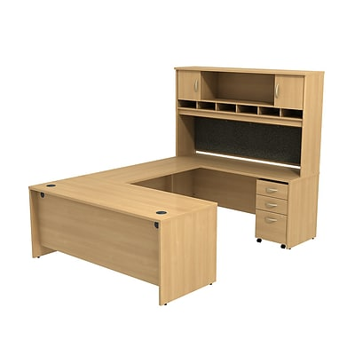 Bush Business Westfield 72W U-Station with 2-Door Hutch and 3-Dwr Mobile Pedestal, Danish Oak