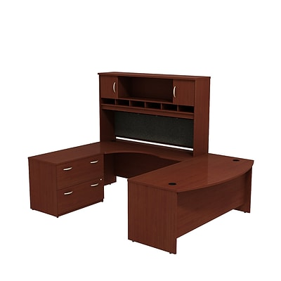 Bush Business Westfield 72W Bowfront LH U-Station w/ 2-Door Hutch and Lateral File, Cherry Mahogany