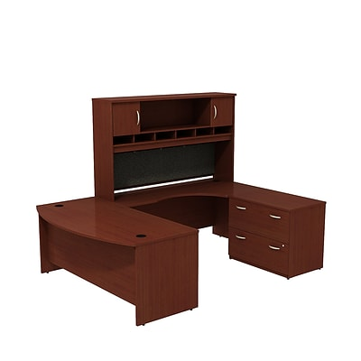 Bush Business Westfield 72W Bowfront RH U-Station w/ 2-Door Hutch and Lateral File, Cherry Mahogany